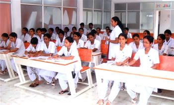 Class in progress at Mutra Nursing School